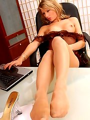 Emily the horny secretary in suntans