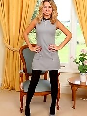 Amazing blonde Danni in very short secretary dress