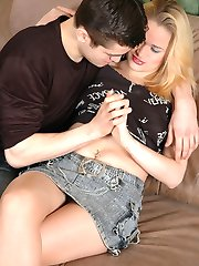 Nasty blonde fondling a guy through her smooth pantyhose before steamy fuck
