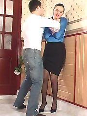 Honored teacher in back seam stockings letting a student get into her pants