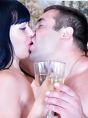 Dazzling babe in white patterned nylons goes for a fuck after oral foreplay