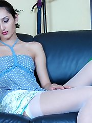 Heated babe slowly pulls down her white stockings after super-hot snatch play