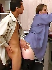 The lovely blonde sits on him to get his cock hard and then bends over so he can do her doggy style.
