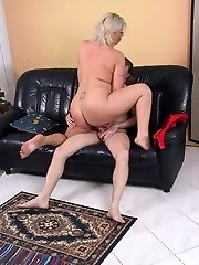 Chubby blond housewife fucking and gargling hard