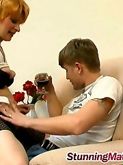 Raunchy milf giving head and spreading legs for young dude after some booze