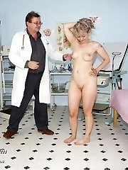 Mature pussy Alena visits her gyno doctor for real cork check-up