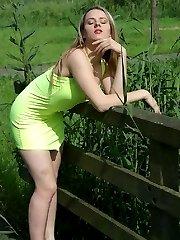 British exhibitionist posing outside