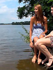 He was hoping these teen cuties would want to go skinny dipping, but these two horny teens wanted sex. He ended up fucking them both by the edge of the water today.