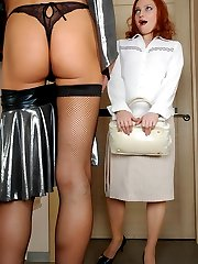 Horny sissy in fishnets prefers a female role in steamy strap-on screwing