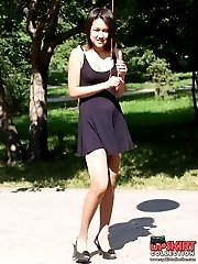 Amazing up skirt long legs are here