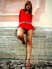 Luxurious babe's upskirt short under red dress