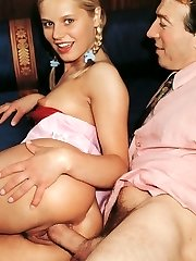 Retro blonde banged by chief