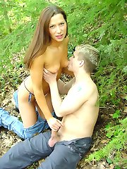 Amateur wild couple gets busy outdoors in the wild
