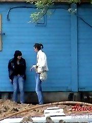 Beauties are pissing outdoor in voyeur pee video clips