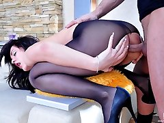 Red hot brunette gives head and assumes the most crazy anal positions ever