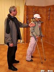 Crippled girl pokes elder