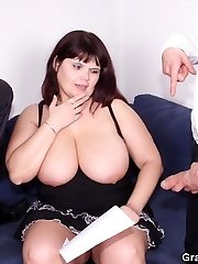 The two younger guys are giving the old tart the pummeling of a lifetime and she wants more