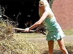 Babe helps senior with hay