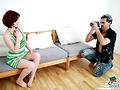 Old teacher shoots redhead teeny on camera, gets her naked and has her suck his cock