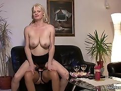 Studs sultry mother and his no less hot gf caught having belt cock sex