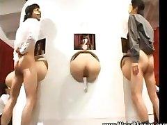Asian butts get boned thru gloryholes