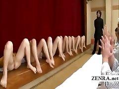 Subtitled bottomless Japanese milf cooch degustating party