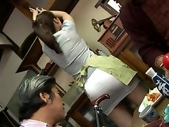 Mature banging threesome with Mirei Kayama in a mini skirt