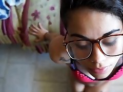 Japanese hipster with glasses gives deepthroat job