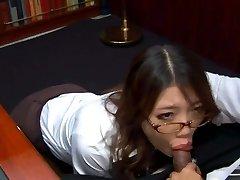 Crazy Asian secretary in glasses Ibuki sucks the dick of her spoiled boss