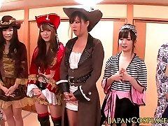 Japanese cosplay babes spray in lovemaking
