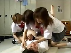 Strapon gangbang by 3 asian schoolgirls