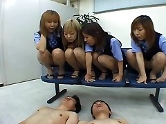 Four Japanese OLs salivating on coworker
