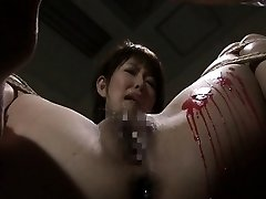 Pouring wax on her wet gash and she loves the bdsm stuff