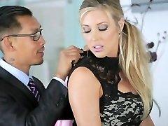 AMWF Samantha Saint interracial threesome with Asians