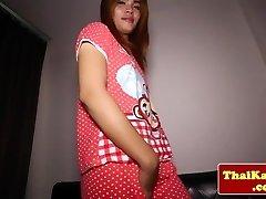 Young thai transgirl slams toy in butt
