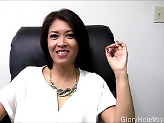 Chinese Cougar Gloryhole Interview Blowjob
