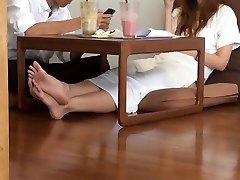 كلية الآسيوية الصريحة الساخنة القدمين والساقين باطن أصابع القدم