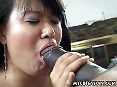 Black dude has a torrid Japanese chick to ravage