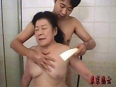 Asian granny enjoying hump