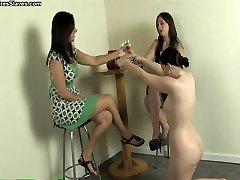 Female foot slave worshiping feet
