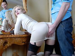 Blonde teaser with an awesome round derriere gets a screaming anal orgasm