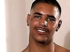 Steaming masculine latino man shows off his rock body and drains o