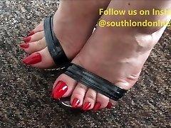 ציפורני רגליים ארוכות Footjob, מטרים דופק, Handjob של ליידי לב