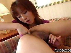 Asian bi-atch eats his ass and inhales his donger