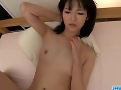 Ruri Okino tries sausage in her mouth and in her pussy