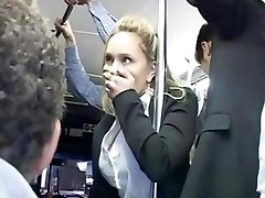 Horny blond groped to multiple ejaculation on bus & plumbed
