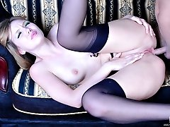 Tempting babe in gartered FF stockings gets her pooper drilled in every way