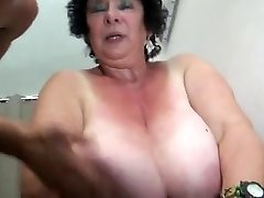 FRENCH BBW 65YO GRANNY OLGA Banged BY 2 Boys - DP