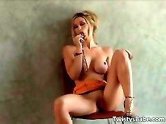 Amazing hot blonde slut with big boobs part6