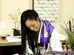 Ebony masseuse eaten out as she sucks